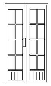 Doppeltür schmal mit 60% Glaseinsatz Classicline 100 x 180 cm Holztüren