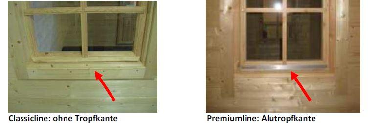 Holzpavillon - Fenster Classicline vs. Premiumline mit Alu-Tropfkante