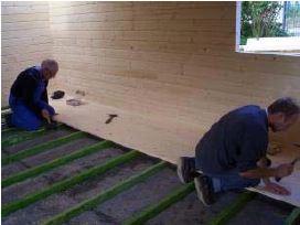 Blockhaus bauen -  Fußboden verlegen