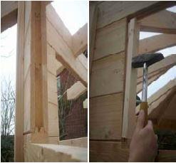 Blockhaus bauen - T-Leisten einsetzen