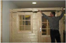 Blockhaus  bauen - Wände auf Seitenwandhöhe